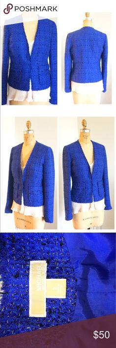 Michael Kors Blue Tweed Jacket Classic tweed jacket in a slimming cut MICHAEL Michael Kors Jackets & Coats Blazers