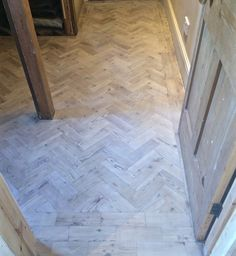 Reclaimed pine blocks, sanded and white washed with Woca white lye and two coats of Woca white oil. Hard work, but great modern look. Reclaimed Parquet Flooring, Modern Flooring, Cork Flooring, Pine Floors, Hardwood Floors, Parque Flooring, Flooring Options, Flooring Ideas, Floor Stain