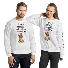 A new sweatshirt for Yorkshire Terrier mom and parent from our collection, Almost normal, with black print paws on the left sleeve. #dogstaff #yorkie #yorkshireterrier #yorkieclothes #yorkielover #yorkiesweatshirt #sweatshirt