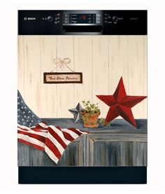 This Dishwasher Cover is a great summertime idea to add a little patriotism to the household while matching your existing decor. This cover is digitally printed and originally hand-painted by American artist Marti Idlet. Dishwasher Cover, Dishwasher Magnet, Appliance Covers, Decorative Panels, Vinyl Cover, Tear, Kitchen Redo, American Artists, Country Decor