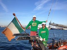 St. Patks's Day - Oliver & Luca flying the flag on Spirit of Oysterhaven !