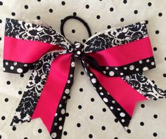 Big Cheer Bow Hot Pink, White and Black on Etsy, $12.00