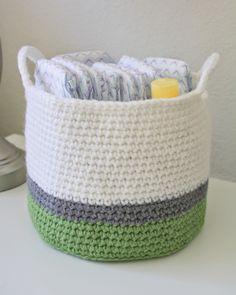 new blog! crochet basket, diaper caddy, red heart super saver