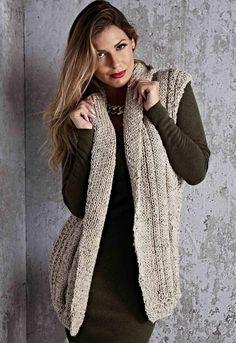 Colete Aberto Retrô • Círculo S/A Knit Vest, Business Fashion, Knitted Hats, Knit Crochet, Plus Size, Boho, Knitting, Casual, Sweaters