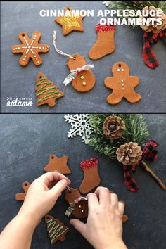 Cinnamon applesauce Christmas ornaments are so much fun to make, plus they smell AMAZING! Fun Christmas activity to do with your kids. Kids Christmas Ornaments, Christmas Ornament Crafts, Noel Christmas, Christmas Crafts For Kids, Holiday Crafts, Homemade Christmas, Homemade Ornaments, Christmas Cookies, Diy Decorations For Christmas