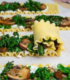 Mushroom, Cauliflower. kale Lasagna Roll Ups
