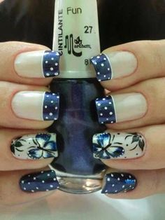 Unhas decoradas, desenhadas, artisticas com borboleta. Get Nails, Fancy Nails, Trendy Nails, How To Do Nails, Nail Polish Designs, Cute Nail Designs, Nails Design, Pedicure Designs, Butterfly Nail