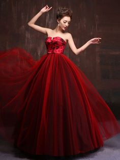 Strapless Royal Scarlet Red Quinceanera Ball Gown Dress