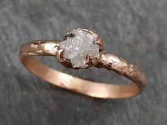 Raw Diamond Solitaire Engagement Ring Rough 14k rose Gold Wedding Ring diamond Wedding Set Stacking Ring Rough Diamond Ring byAngeline 0318