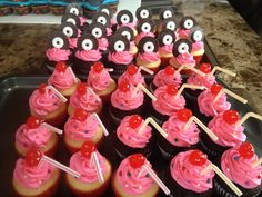 50s themed cupcakes - milkshakes and records.