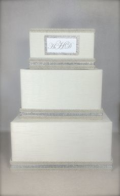 Wedding Money Box Monogram Classic Wedding Card by WrapsodyandInk