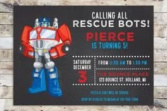 Birthday Invitation - Transformers Rescue Bots   Optimus Prime Chalkboard (Horizontal)