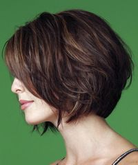 Beveled nape long layers-Haircut....Brown on Browm Multi dimentional - Haircolor... Best on - Medium w/ soft wave Hair