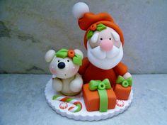 Santa Bear Polymer Clay Christmas by countrycupboardclay