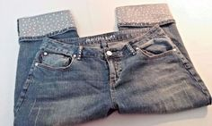 Americana Blues Capris/Capri Crop Jeans/Rhinestones Womans Size 16 Distressed #AmericanaBlues #CapriCropped
