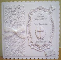 Confirmation card using Spellbinders corners, small ovals and cross.