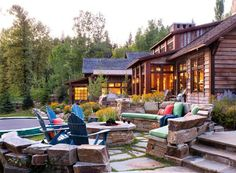 A rustic-contemporary summer retreat offers lakeside living and entertaining in style, designed by Locati Architects, nestled on Whitefish Lake in Montana. Lakeside Living, Outdoor Living, Lakeside Cottage, Montana Lakes, Timber House, Rustic Contemporary, Herd, Waterfront Homes, Architect Design