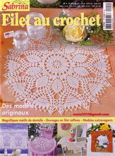 "Photo from album ""Sabrina - Filet au crochet 01 on Yandex. Filet Crochet, Crochet Chart, Irish Crochet, Knit Crochet, Knitting Books, Crochet Books, Thread Crochet, Crochet Stitches, Magazine Crochet"