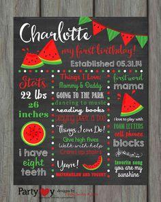 Watermelon Birthday Chalkboard Poster First by PartyInvitesAndMore