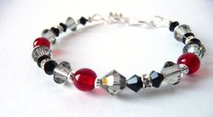 Little Girls Jewelry Bracelet, Black Red Silver, Kids Jewelry, Childrens Jewelry, Valentines Day Jewelry Gift, Flower Girl Jewelry. $18.00, via Etsy.