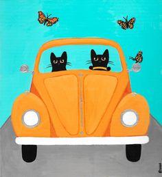 A Spring Drive VW Cats Original Folk Art by KilkennycatArt on Etsy