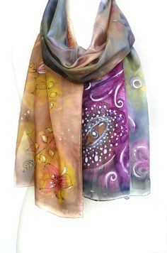 Whimsical Silk Scarf. Hand Painted Shawl. Purple, Gold, Brown Silk Scarf. Echarpe Foulard. Gift for Her. 14x71in. (35x180cm). Ready2Ship.