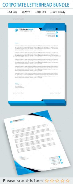 Letterhead template stationery print templates download here corporate letterhead template bundle vector eps ai illustrator spiritdancerdesigns Choice Image