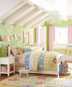 Find shared bedroom ideas and inspiration at Pottery Barn Kids. Discover room ideas that will be able to handle multiple kids and styles. Pottery Barn Kids, Girls Bedroom, Bedroom Decor, Garden Bedroom, Garden Nursery, Bedroom Colors, Dream Bedroom, Playroom Colors, Bedroom Furniture