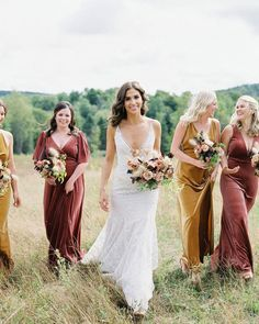 """The Knot on Instagram: """"If you see us admiring these bridesmaid dresses, lighting pumpkin-scented candles, and dreaming of fall days ahead, mind your business! 🍁 🍂…"""" Looking Dapper, Black Tuxedo, Gowns Of Elegance, Bridesmaid Dresses, Wedding Dresses, First Dance, Real Weddings, Michigan, Our Wedding"""
