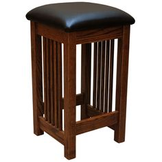 "These great looking 24"" Oak Mission Barstools hold true to the Arts & Crafts tradition and would make a welcomed addition to your home.This Stylish Stool is skillfully constructed by highly experienced Craftsmen in the Heartland of America. This stool is a beautiful example of a Frank Lloyd Wright inspired piece. This elegant barstool is handmade using sturdy Red Oak (shown). In addition, this Barstool also features a sealed conversion varnish that protects this piece from water, oil…"