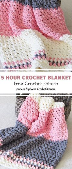 One Day Crochet Blankets Free Patterns. Squishy, thick and modern. These are the first three words I would use to describe this delightful blanket. It will look absolutely adorable in a nursery if you Crochet Afghans, Motifs Afghans, Afghan Crochet Patterns, Baby Blanket Crochet, Knitting Patterns, Crochet Blankets, Baby Afghans, Stitch Crochet, Crochet Stitches