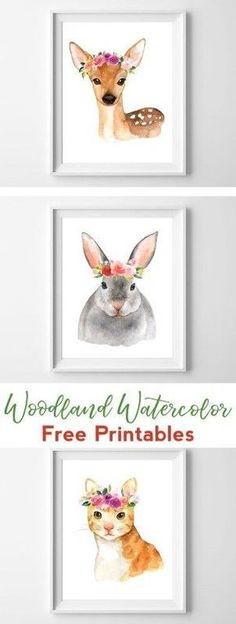 Woodland Watercolor Printable Nursery Art | All Crafty Things