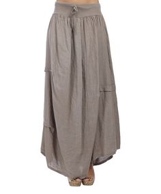Another great find on #zulily! Taupe Rolled Hem Linen Maxi Skirt - Plus Too #zulilyfinds