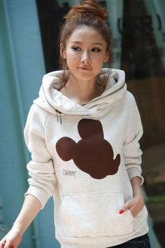 Women Grey Hoodie Autumn Apparel New Style Cute Mickey Print Casual Clothing Hood All-match Long Sleeve Clothing Cotton M/L @GP0026g