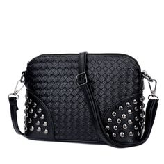 KGS Tas Casual Wanita Woven Studded Sling Bag 1049 - Hitam - Int: One size