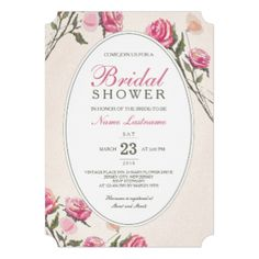 Customize this stylish classy elegant vintage Pink Roses Bridal Shower Invitation. Matching Wedding Invitation and RSVP Card are on links below: Vintage Romantic Pink Roses Wedding Invitation Vintage Romantic Pink Roses Wedding RSVP Card #bridal #shower #classy #stylish #classic #elegant #vintage #floral #beige #pink #roses #white #chic #wedding #contemporary #frame #invitation #invite #invites #invitations #custom #template #templates #customizable #customize #personalize #personalise ...