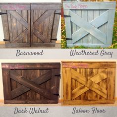 Gate Comparison – Barnwood, Weathered Grey, Dark Walnut, Saloon Floor