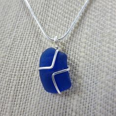 Cornflower Blue Sea Glass Pendant, Wrapped in silver Wire - Handmade, Recycled, Eco-friendly $16.00