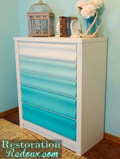 Castaway Dresser Gets Ombre-fied Furniture Projects, Furniture Makeover, Diy Furniture, Furniture Design, Plywood Furniture, Repurposed Furniture, Chair Design, Design Design, Modern Furniture