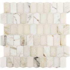 Calacatta Borghini hive mosaic in honed finish - Creamy marble perfect for kitchen backsplash, bathroom floor, entryway, mudroom, & more