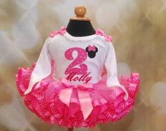 Minnie Mouse Icon / Second Birthday Tutu Set with  Storybook Number Minnie Mouse Pink or Hot Pink