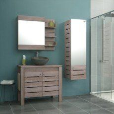 Meuble de salle de bains de 80 à 99, brun / marron, Moorea