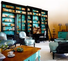 modulable-turquoise.jpg 700×630 pixels Bookcase that may conceal a tv, incorporate a desk, conceal stereo equipment.  Grange