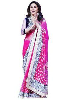 Madhuri dixit bollywood replicas saree on net fabric. I found this beautiful design on Mirraw.com