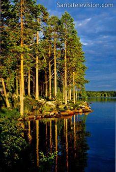 Atardecer en Ranua en Laponia en Finlandia