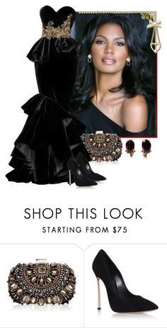 Black velvet evening gown by fashionrushs on Polyvore featuring Casadei, Lipsy, Kurt Wayne and Andrew Gn