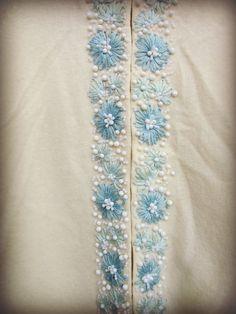 Vintage XL bordado de cuentas Cardigan suéter / / Made in Hong