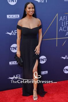 #JoyBryant was classic in a black off-the-shoulder formal #gown with a high slit at the AFI Life Achievement Award Gala.