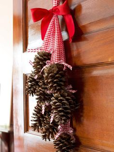 Gather pinecones in your yard and add a chunky ribbon. So easy! http://www.hgtv.com/handmade/creative-holiday-decorations-for-your-front-door/pictures/page-8.html?soc=pinterest