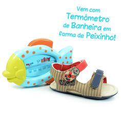 Sandália Papete Infantil Menino Kidy Docinho 0160124 - Bege / Vermelho